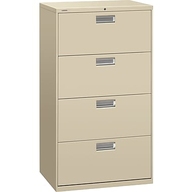 HON 600 Series Lateral File Cabinet, 30in. Wide, 4-Drawer, Putty