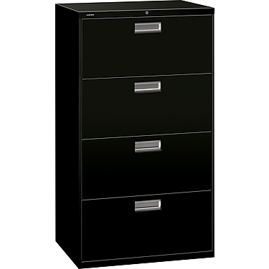 HON Brigade 600 Series 4 Drawer Lateral File, Black,Letter/Legal, 30''W (674L-P)