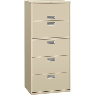 HON 600 Series Lateral File Cabinet, 30in. Wide, 5-Drawer, Putty