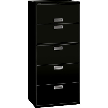 HON 600 Series Lateral File Cabinet, 30in. Wide, 5-Drawer, Black