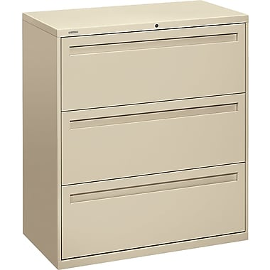 HON Brigade 700 Series Lateral File Cabinet, 36in. Wide, 3-Drawer, Putty