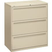 HON® Brigade™ 700 Series Lateral File Cabinet, 36 Wide, 3-Drawer, Putty
