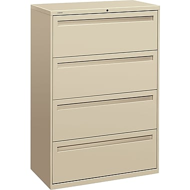 HON Brigade 700 Series Lateral File Cabinet, 36in. Wide, 4-Drawer, Putty