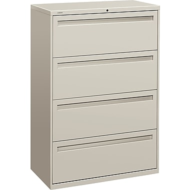 HON Brigade 700 Series Lateral File Cabinet, 36in. Wide, 4-Drawer, Light Gray