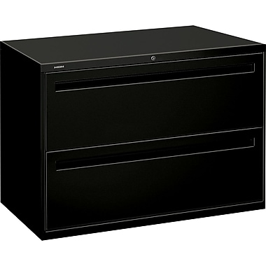 HON Brigade 700 Series Lateral File Cabinet, 42in. Wide, 2-Drawer, Black