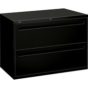 "HON® Brigade™ 700 Series Lateral File Cabinet, 42"" Wide, 2-Drawer, Black"