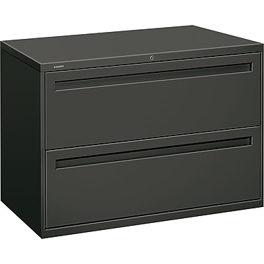 HON Brigade 700 Series Lateral File Cabinet, 42in. Wide, 2-Drawer, Charcoal