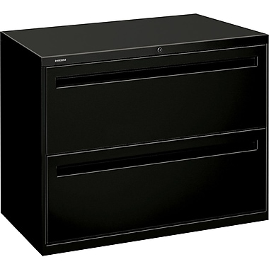 HON Brigade 700 Series Lateral File Cabinet, 36in. Wide, 2-Drawer, Black