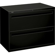 "HON® Brigade™ 700 Series Lateral File Cabinet, 36"" Wide, 2-Drawer, Black"