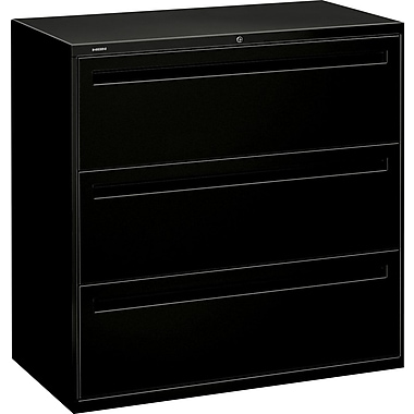 HON Brigade 700 Series Lateral File Cabinet, 42in. Wide, 3-Drawer, Black