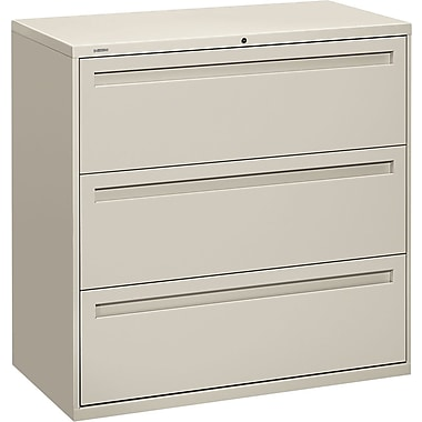 HON Brigade 700 Series Lateral File Cabinet, 42in. Wide, 3-Drawer, Light Gray