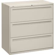 HON® Brigade™ 700 Series Lateral File Cabinet, 42 Wide, 3-Drawer, Light Gray
