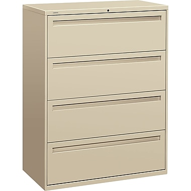 HON Brigade 700 Series Lateral File Cabinet, 42in. Wide, 4-Drawer, Putty
