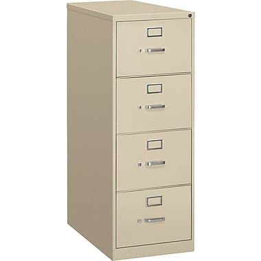 HON S380 Series Vertical File Cabinet, 26 1/2in. 4-Drawer, Legal Size, Putty