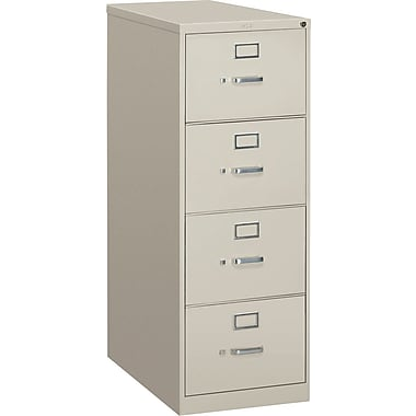 HON S380 Series Vertical File Cabinet, 26 1/2in. 4-Drawer, Legal Size,  Light Gray