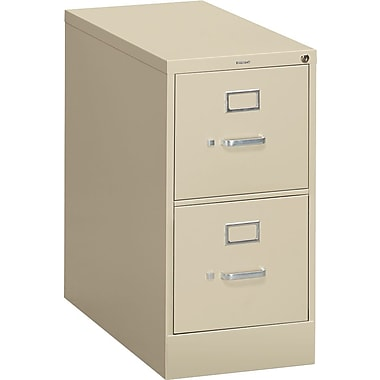 HON S380 Series Vertical File Cabinet, 26 1/2in. 2-Drawer, Letter Size, Putty
