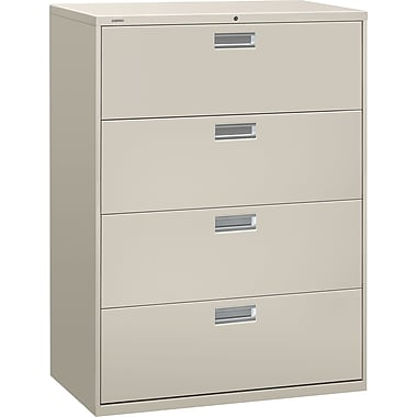 HON Brigade 600 Series Lateral File Cabinet, 42in. Wide, 4-Drawer, Light Gray