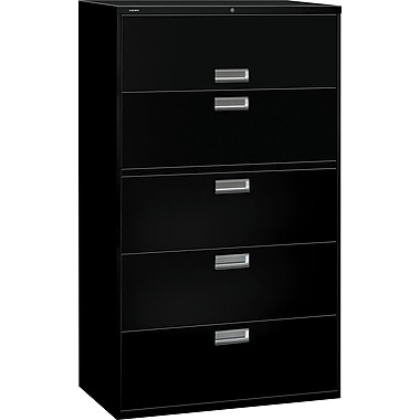 HON Brigade 600 Series Lateral File Cabinet, 42in. Wide, 5-Drawer, Black