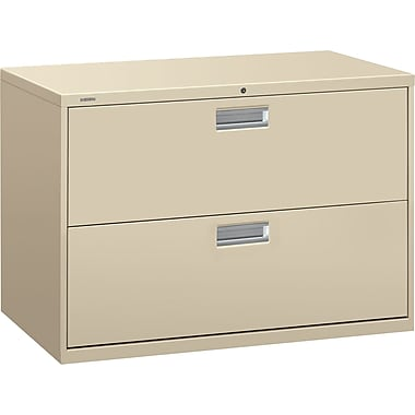 HON Brigade 600 Series 2-Drawer Lateral File Cabinet, Putty, 42in. W