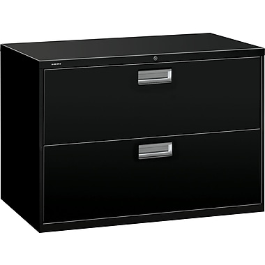HON Brigade 600 Series Lateral File Cabinet, 42in. Wide, 2-Drawer, Black