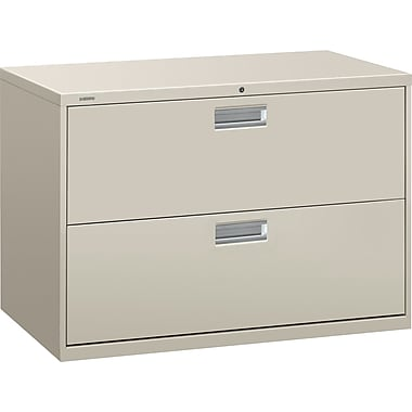 HON Brigade 600 Series Lateral File Cabinet, 42in. Wide, 2-Drawer, Light Gray