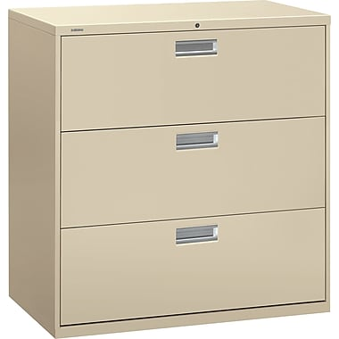 HON Brigade 600 Series 3-Drawer Lateral File Cabinet, Putty, 42in. W