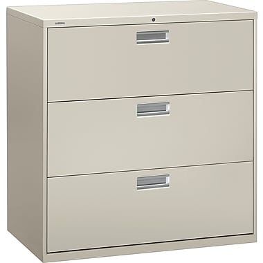 HON Brigade 600 Series Lateral File Cabinet, 42in. Wide, 3-Drawer, Light Gray