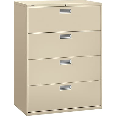 HON Brigade 600 Series Lateral File Cabinet, 42in. Wide, 4-Drawer, Putty