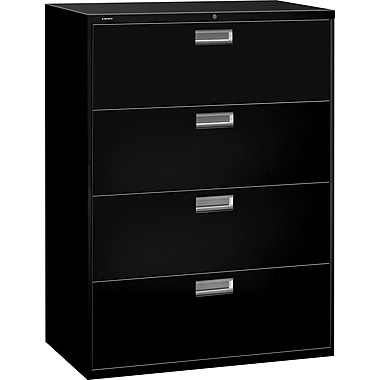 HON Brigade 600 Series Lateral File Cabinet, 42in. Wide, 4-Drawer, Black