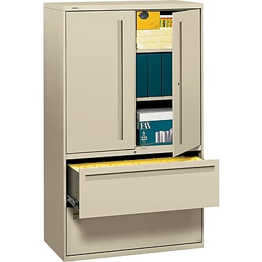 HON 700 Series Lateral File Cabinet With Storage, 42in. Wide, 2-Drawer, Putty