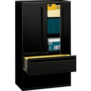 "HON® 700 Series Lateral File Cabinet With Storage, 42"" Wide, 2-Drawer, Black"