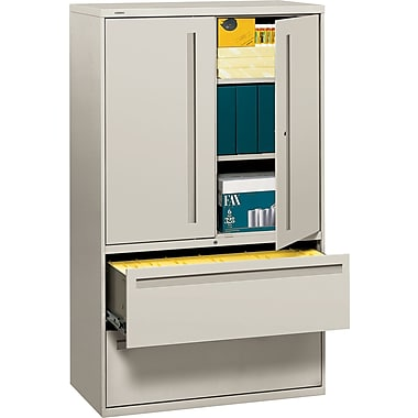 HON 700 Series Lateral File Cabinet With Storage, 42in. Wide, 2-Drawer, Light Gray