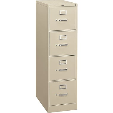 HON S380 Series 4-Drawer Vertical File Cabinet, Letter Size, Putty (HS384PL)