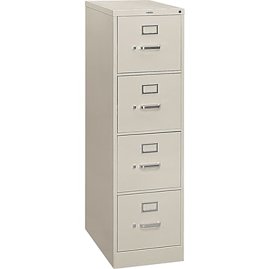 HON S380 Series Vertical File Cabinet, 26 1/2in. 4-Drawer, Letter Size,  Light Gray