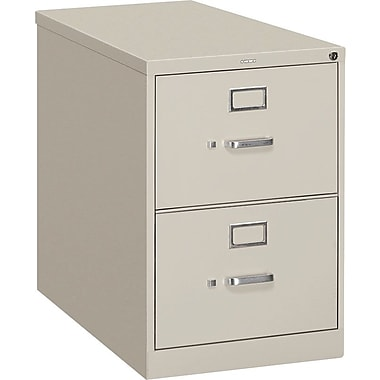 HON S380 Series Vertical File Cabinet, 26 1/2in. 2-Drawer, Legal Size,  Light Gray