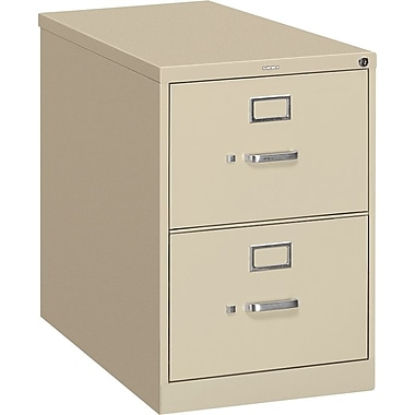 HON S380 Series Vertical File Cabinet, 26 1/2in. 2-Drawer, Legal Size, Putty