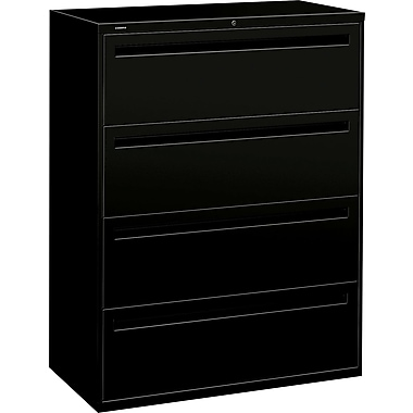HON Brigade 700 Series Lateral File Cabinet, 42in. Wide, 4-Drawer, Black