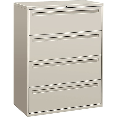 HON Brigade 700 Series Lateral File Cabinet, 42in. Wide, 4-Drawer, Light Gray