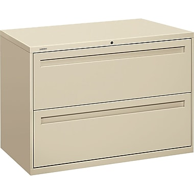 HON Brigade 700 Series Lateral File Cabinet, 42in. Wide, 2-Drawer, Putty