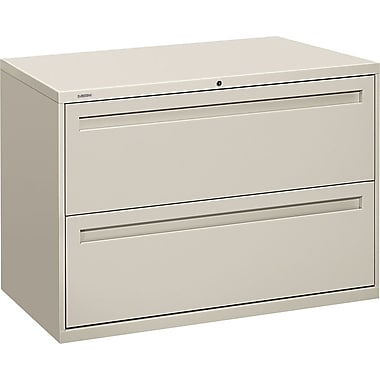 HON Brigade 700 Series Lateral File Cabinet, 42in. Wide, 2-Drawer, Light Gray