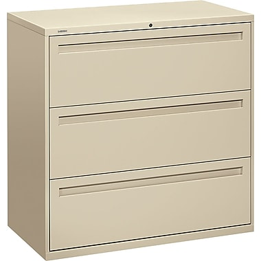 HON Brigade 700 Series Lateral File Cabinet, 42in. Wide, 3-Drawer, Putty