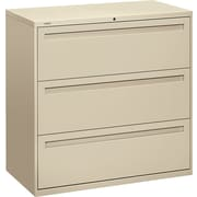 HON® Brigade™ 700 Series Lateral File Cabinet, 42 Wide, 3-Drawer, Putty