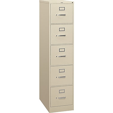 HON 310 Series Vertical File Cabinet, 26 1/2in. 5-Drawer, Letter Size,  Putty