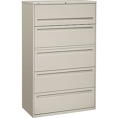 HON Brigade 700 Series Lateral File Cabinet, 42in. Wide, 5-Drawer, Light Gray