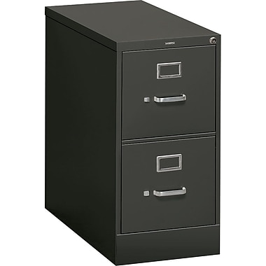 HON® 310 Series Vertical File Cabinet, 26 1/2in. 2-Drawer, Letter Size, Charcoal