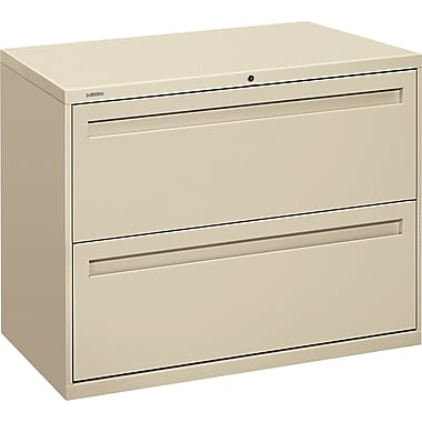 HON Brigade 700 Series Lateral File Cabinet, 36in. Wide, 2-Drawer, Putty