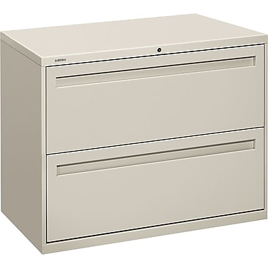 HON Brigade 700 Series Lateral File Cabinet, 36in. Wide, 2-Drawer, Light Gray