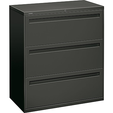 HON Brigade 700 Series Lateral File Cabinet, 36in. Wide, 3-Drawer, Charcoal