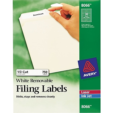 Avery® 8066 White Removable File Folder Labels, 750/Pack
