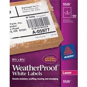 Avery® 5526 White WeatherProof™ Shipping Labels, 5-1/2 X 8-1/2, 100/Box